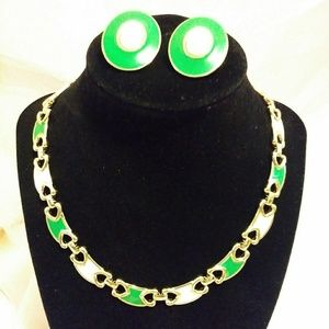 Set- Vintage Gold Enamel Link Necklace + Earrings